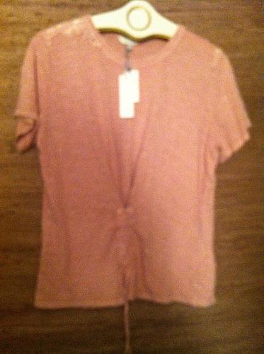 Women`s XL Pink Tee Cross Tie / Lace 100% Cotton