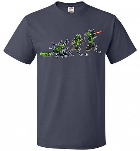 Pickle Rick Evolution Unisex T-Shirt Pop Culture Graphic Tee (XL/J Navy) Humor Funny