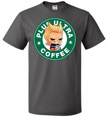 Plus Ultra Coffee Unisex T-Shirt Pop Culture Graphic Tee (2XL/Charcoal Grey) Humor Fu
