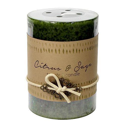 :10920U - 2ct Citrus & Sage Scented Tri-color Green Pillar Candle 3x4 Charm