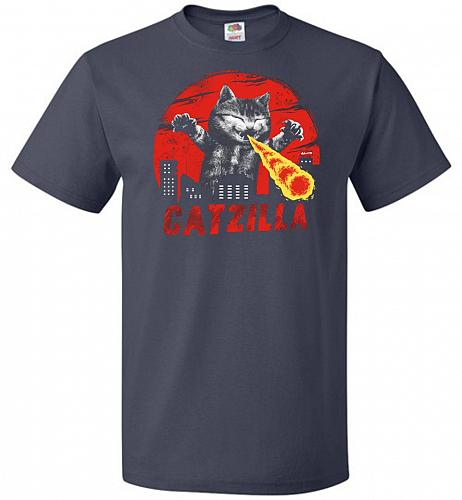Catzilla Unisex T-Shirt Pop Culture Graphic Tee (5XL/J Navy) Humor Funny Nerdy Geeky