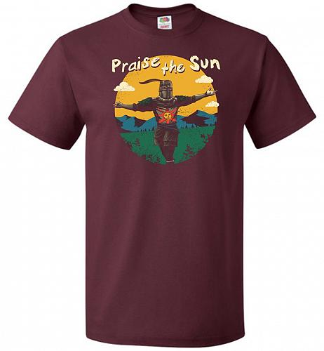 Praise The Sun Unisex T-Shirt Pop Culture Graphic Tee (L/Maroon) Humor Funny Nerdy Ge