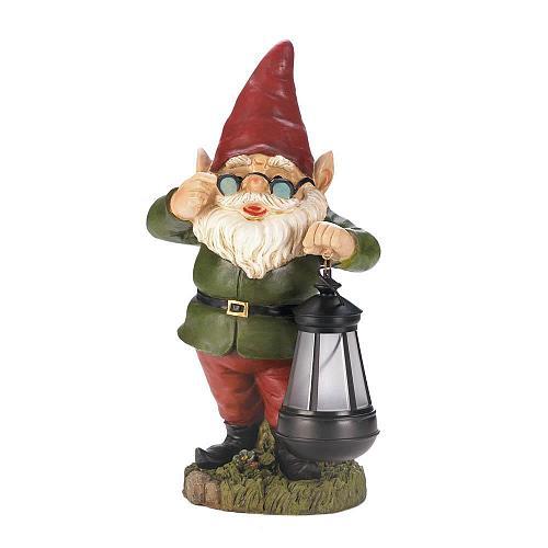 *18236U - Solar Lantern Keeper Gnome Garden Statue Yard Art
