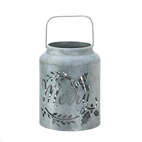 *18549U - Merry Cut-Out Script Galvanized LED Candle Lantern