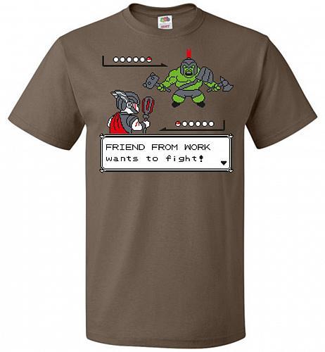 Friendly Foe Unisex T-Shirt Pop Culture Graphic Tee (XL/Chocolate) Humor Funny Nerdy