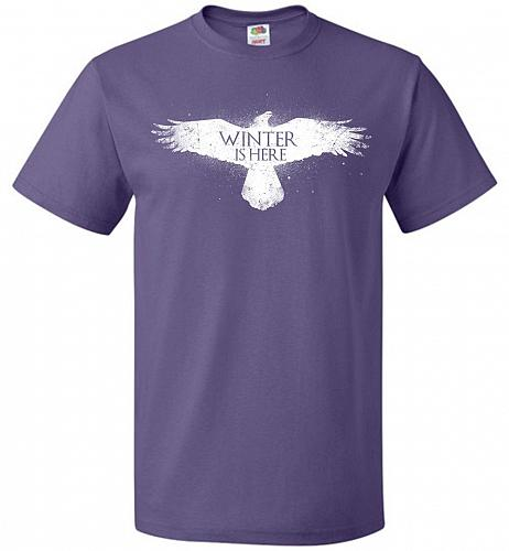Winter Is Here Unisex T-Shirt Pop Culture Graphic Tee (6XL/Purple) Humor Funny Nerdy