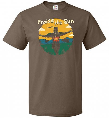 Praise The Sun Unisex T-Shirt Pop Culture Graphic Tee (4XL/Chocolate) Humor Funny Ner