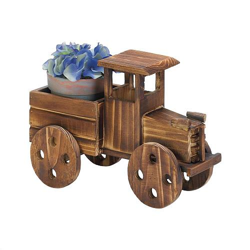*18409U - Rustic Antique Truck Fir Wood Planter Yard Art