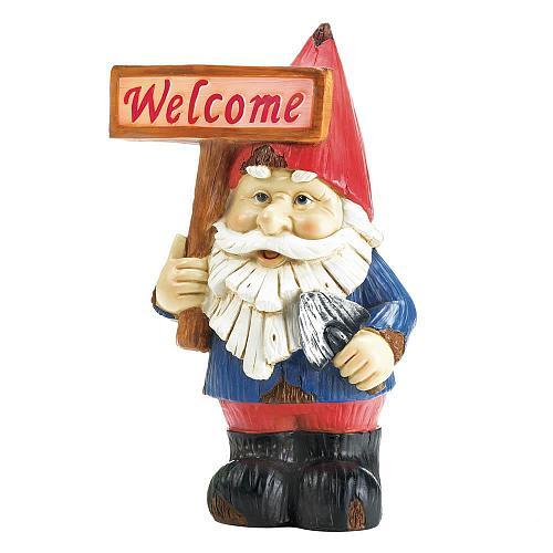 "*18056U - Welcome Gnome Garden Figure 10"" Solar Light Statue"