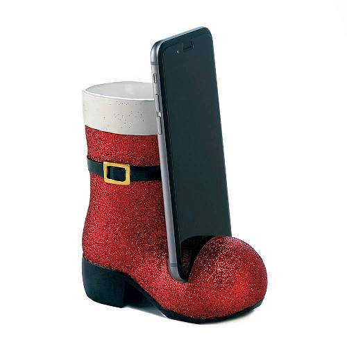 *18294U - Sparkling Red Santa Boot Cell Phone Holder