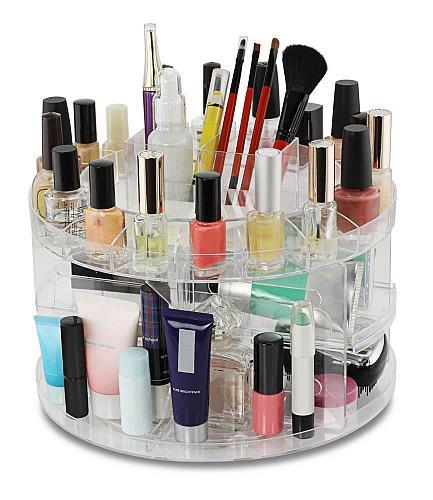 :10718U - Cosmetics Holder Clear Plastic Carousel Rotates 360 Degrees