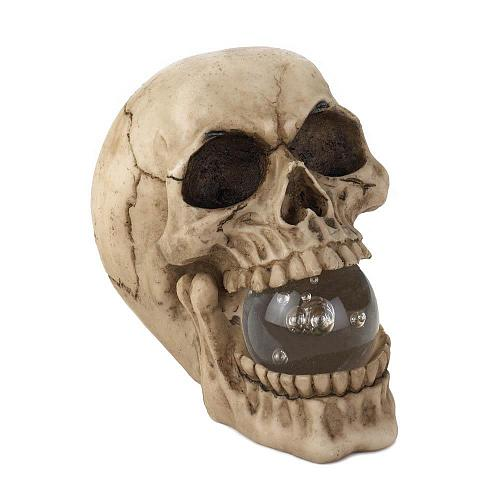 *17294U - Skull Skeleton Head Figurine Light-Up Orb In Mouth
