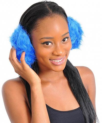 Unisex EARMUFFS Blue Fuzzy Faux Fur Earwarmers Winter Fashion MADISON AVENUE