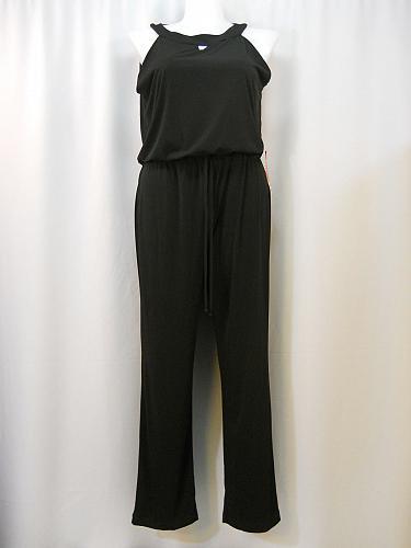 Jumpsuit Women Size 14 Black Sleeveless Keyhole Straight Leg AA Studio AA