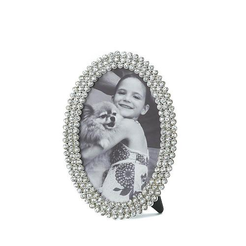 *16949U - Dazzling Clear Rhinestone Oval Picture Frame Holds 4x6 Photo