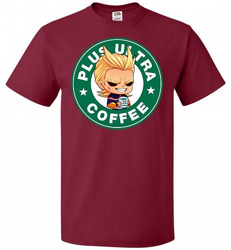 Plus Ultra Coffee Unisex T-Shirt Pop Culture Graphic Tee (5XL/Cardinal) Humor Funny N