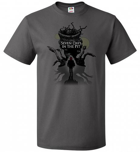 7 Days In The Pit Unisex T-Shirt Pop Culture Graphic Tee (2XL/Charcoal Grey) Humor Fu