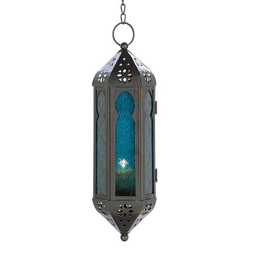 14691U - Ocean Blue Pressed Glass Hanging Moroccan Style Iron Candle Lantern
