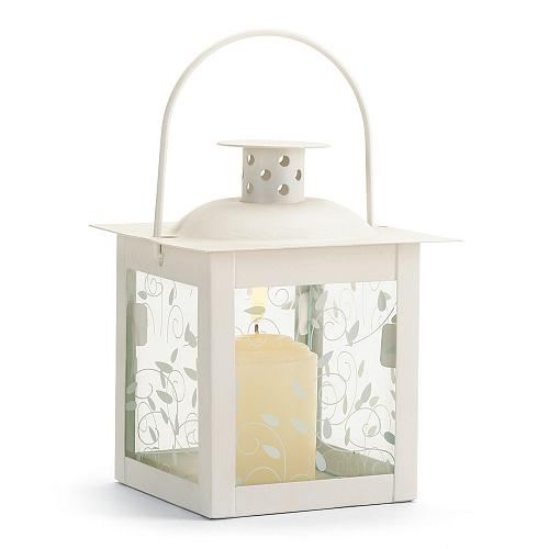 37440U - White Metal Vine Design Glass Panel Candle Lantern Small