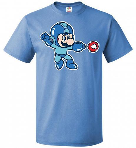 Mega Mario Unisex T-Shirt Pop Culture Graphic Tee (L/Columbia Blue) Humor Funny Nerdy
