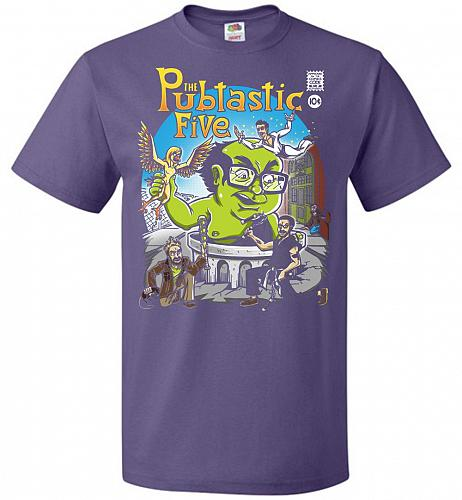 Pubtastic Five Unisex T-Shirt Pop Culture Graphic Tee (2XL/Purple) Humor Funny Nerdy