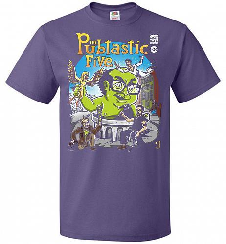 Pubtastic Five Unisex T-Shirt Pop Culture Graphic Tee (S/Purple) Humor Funny Nerdy Ge
