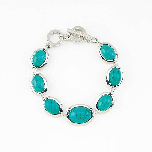 :11019U - Turquoise Oval Bead Bracelet