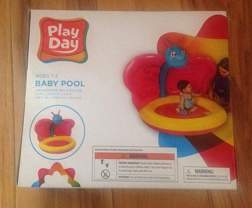 Play Day Inflatable Baby Pool Monkey Sunshade Summer Play Fun Ages 1-3 NEW