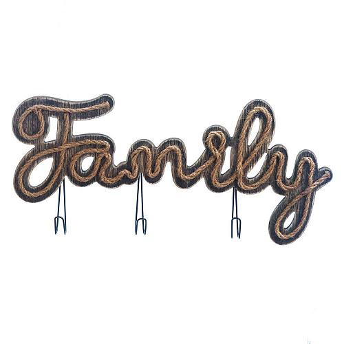 *18178U - Family Sign Rope & Wood Wall Plaque w/3 Hooks