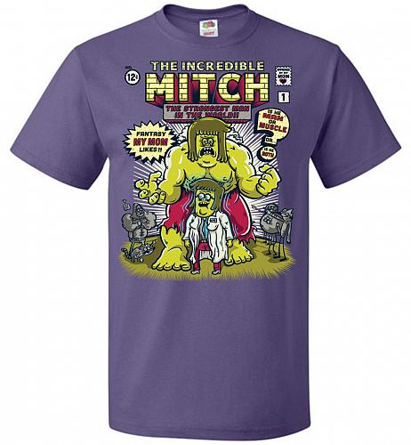 Incredible Mitch Unisex T-Shirt Pop Culture Graphic Tee (6XL/Purple) Humor Funny Nerd