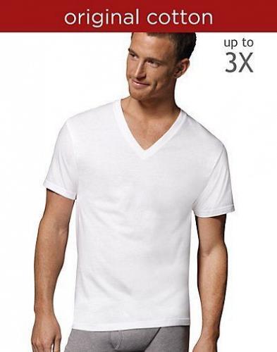 10-pack Hanes Men's TAGLESS V-Neck Undershirt White #777P5B sizes 2XL or 3XL