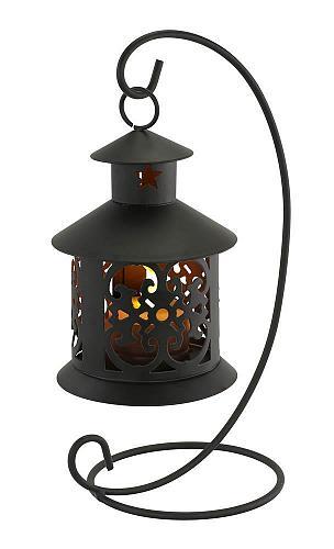 :10822U - Flameless LED Black Metal Tealight Hanging Lantern