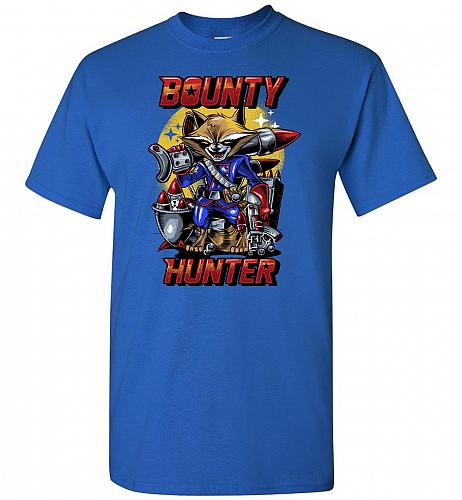 Bounty Hunter Rocket Raccoon Unisex T-Shirt Pop Culture Graphic Tee (S/Royal) Humor F