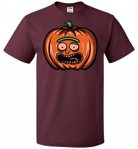 Halloween Pumpkin Rick Adult Unisex T-Shirt Pop Culture Graphic Tee (4XL/Maroon) Humo
