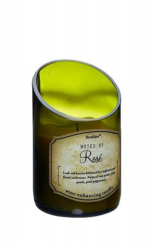 :10814U - Green Glass Wine Bottle Rose Scented Candle