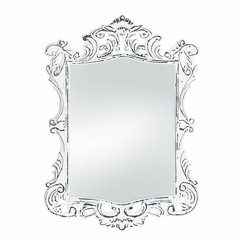 *18067U - Regal White Distressed MDF Wood Frame Wall Mirror