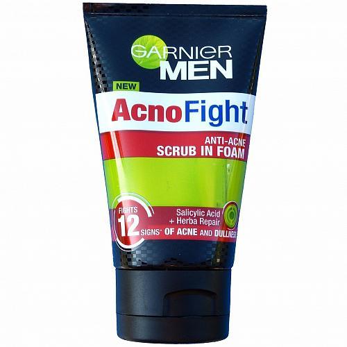 Garnier Men AcnoFight Anti Acne Scrub in Foam Facial Cleanser 100ml