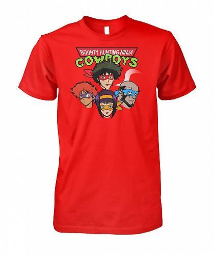 Bounty Hunting Ninja Cowboys Unisex T-Shirt Pop Culture Graphic Tee (3XL/Red) Humor F