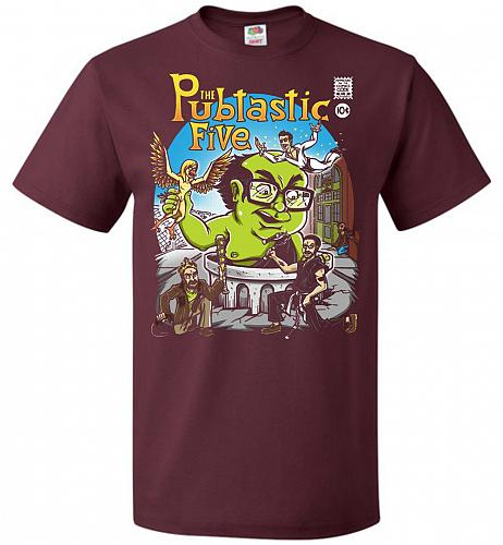 Pubtastic Five Unisex T-Shirt Pop Culture Graphic Tee (S/Maroon) Humor Funny Nerdy Ge