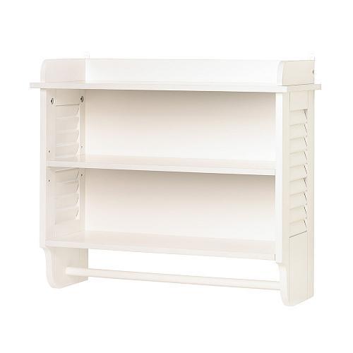 14706U - Nantucket White Louvered Bathroom Wall Shelf