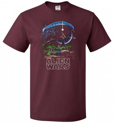 Alien Wars Unisex T-Shirt Pop Culture Graphic Tee (L/Maroon) Humor Funny Nerdy Geeky