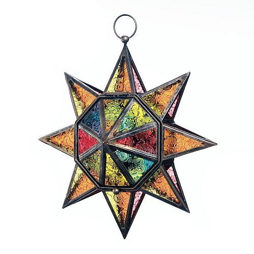 *18326U - Multi Faceted 8 Point Colorful Star Tea Light Candle Hanging Lantern