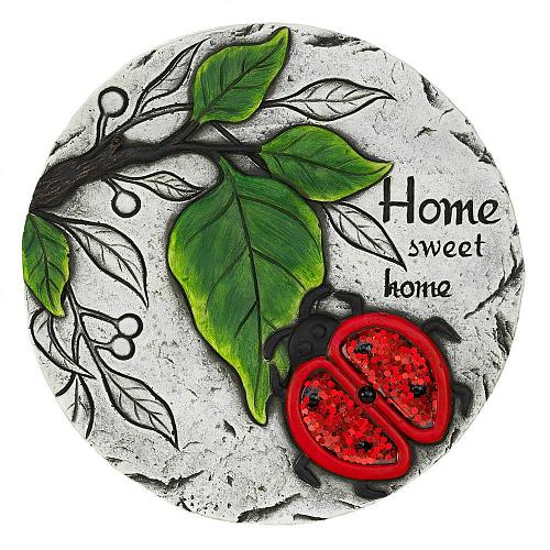 """*18531U - Home Sweet Home Red Ladybug 10"""" Cement Stepping Stone"""