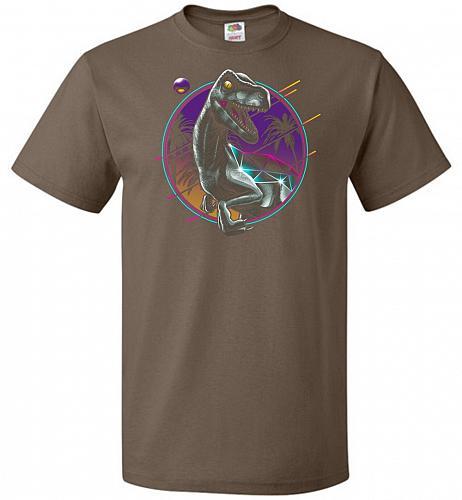 Rad Velociraptor Unisex T-Shirt Pop Culture Graphic Tee (4XL/Chocolate) Humor Funny N