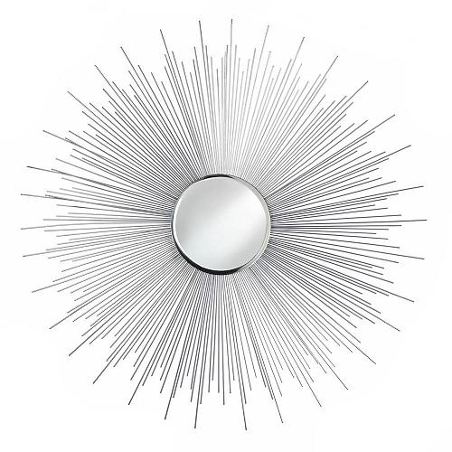 *18290U - Silver Rays Iron Burst Round Wall Mirror