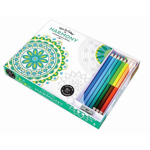 :10808U - Harmony 96 Page Adult Coloring Book w/8 Colored Pencils