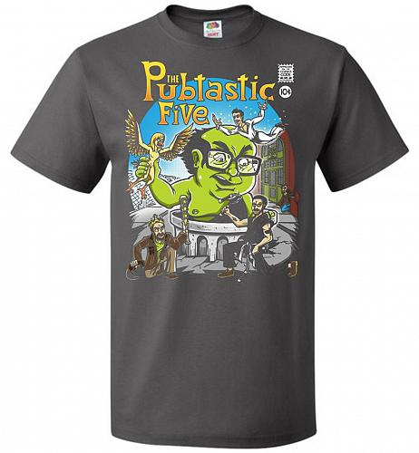 Pubtastic Five Unisex T-Shirt Pop Culture Graphic Tee (6XL/Charcoal Grey) Humor Funny