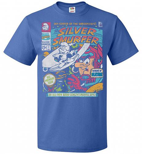Silver Smurfer Unisex T-Shirt Pop Culture Graphic Tee (6XL/Royal) Humor Funny Nerdy G