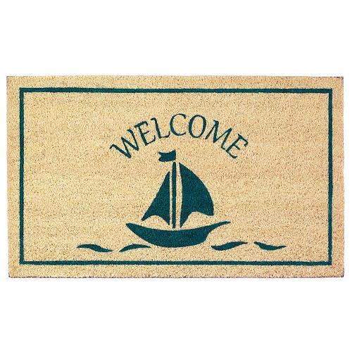 *18121U - Sailboat Welcome Door Mat Enteryway Coir Rug
