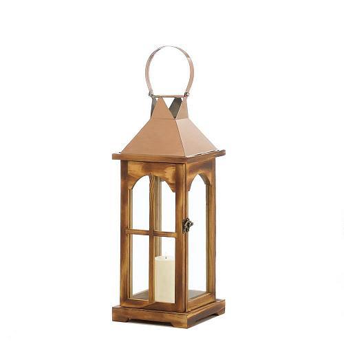"*18313U - Rose Gold Wooden 17.5"" Pillar Candle Holder Lantern"